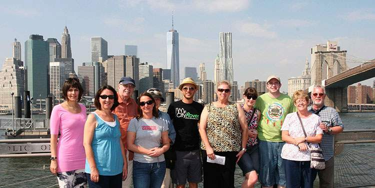 Walking Tour Group at Fulton Ferry Landing