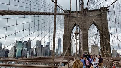 The Gothic towers of the Brooklyn Bridge