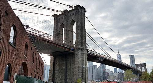 View of Brooklyn Bridge from Brooklyn's waterfront