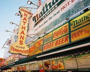 A hotdog from Nathan's Famous