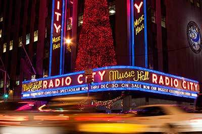 Night-time view of Radio City Music Hall