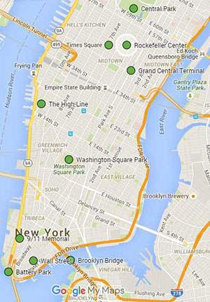 map of top 10 places to visit in nyc
