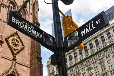 Intersection of Broadway and Wall Street