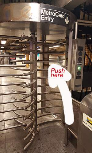 Vertical NYC subway turnstile
