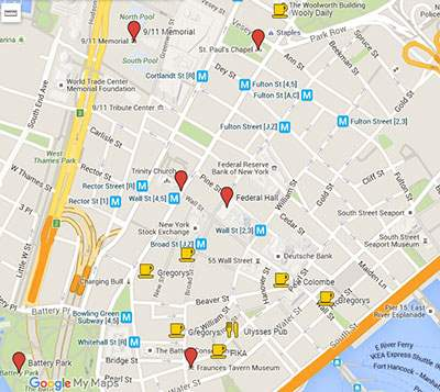 Best coffee spots in FiDi on map
