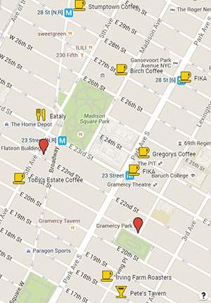 Map of best coffee shops near Flatiron and Gramercy