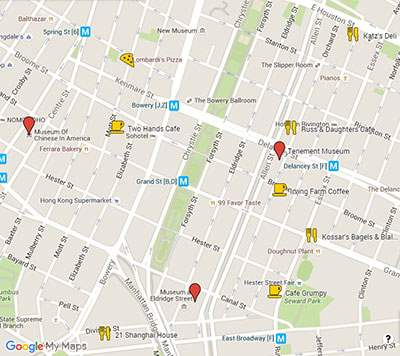 Best coffee spots on Lower East Side map