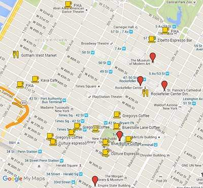 Map of best coffee shops in Midtown