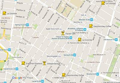 Best coffee in SoHo and NoHo map