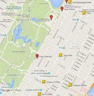 Map of best coffee shops on Upper East Side
