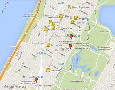 Best coffee shops on Upper West Side map
