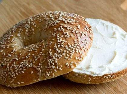 NYC bagel with cream cheese