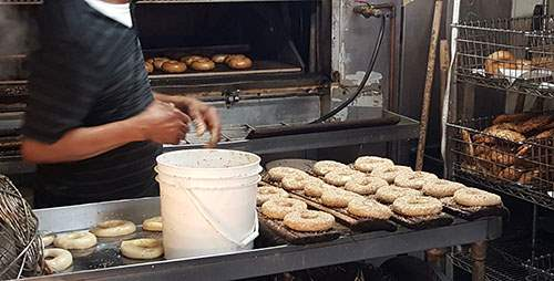Bagels being prepared for baking in Bagel Works