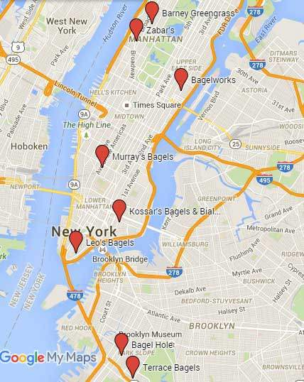 Best Bagels in NYC on a map