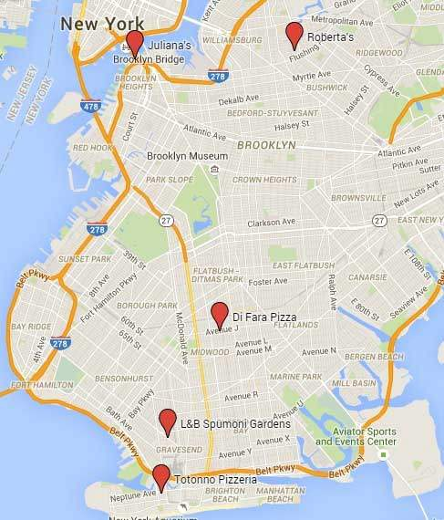 5 great pizzerias in Brooklyn on a map