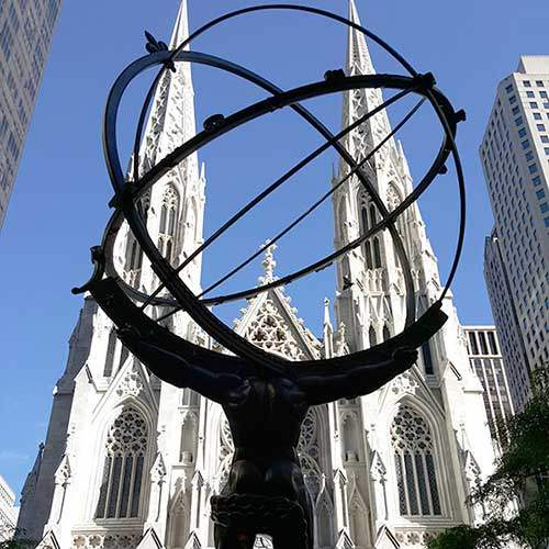 Atlas and Saint Patrick's on Fifth Avenue